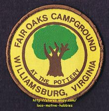 LMH PATCH Badge  FAIR OAKS CAMPGROUND  Camping Park Pottery  WILLIAMSBURG VA  3""