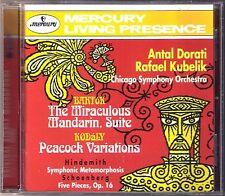 Dorati Kubelik Bartok the Miraculous mandarino Hindemith Metamorphosis MERCURY CD