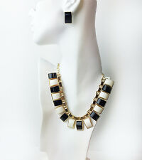 """15"""" Plated base metal necklace - PIANO KEYS BIB  NECKLACE"""