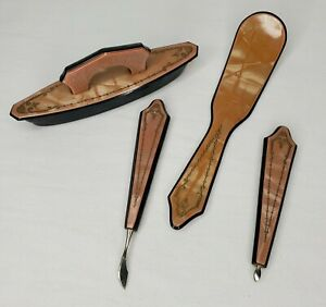 Vintage Mother Of Pearl Pedicure Tools 4 Piece Set Inlaid Design Pink Tone