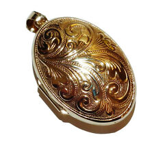 Fully Hallmarked 9ct Yellow Gold Patterned Oval Locket