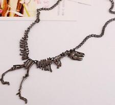 Unique Large Dinosaur Skeleton Necklace Dino Statement Bib Dragon Bones Gunmetal