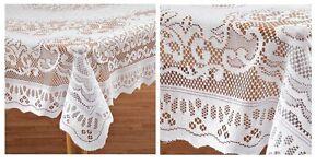 Elegant White Fleur De Lis Lace Tablecloth, Ideal For Formal Dinner Parties