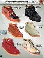 Los Altos Men's Style #1 Causal Genuine Caiman w/ Ostrich Lace Up Shoes