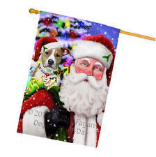 Santa Carrying American Staffordshire Terrier Dog Christmas House Flag Flg53863