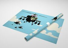 "Banksy Happy Choppers (Helicopters) Archival Canvas Print 30""x20"""
