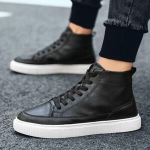 Mens High Top Fashion Sneakers Lace Up Round Toe Casual Shoes Faux Leather