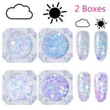 2X Sun Light UV Nail Art Changing Color Mix Size Glitter Powder Flakes Chameleon
