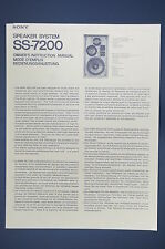 SONY SS-7200 Speaker System Original Bedienungsanleitung/User/Owner`s Manual!