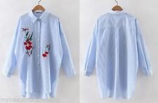 Cotton Blend Floral Long Sleeve Button Down Shirts for Women