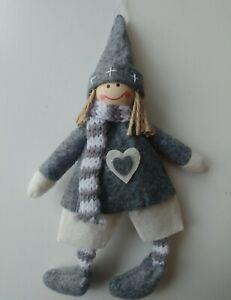 WINTER GIRL Scandinavian felt Christmas tree decoration NEW grey & white SHORTS