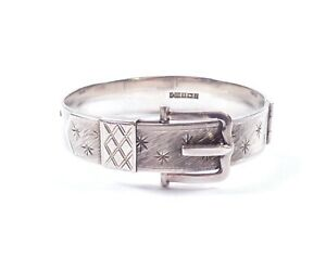 Vintage Buckle Bangle Bracelet Sterling Silver English 1965 Bracelon Ltd 35.1g