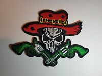 Skull with Pistols Cowboy Iron On Sew on Patch Transfer Fancy Dress Badge