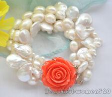 Z7086 4Strds 14mm white coin & baroque & rice freshwater pearl bracelet 8inch