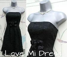 OASIS - Gorgeous  Strapless Black Lace Prom Dress 8 EU34/36