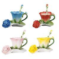 Antique Chinese Enamel Porcelain Cup Saucer Ceramic Rose Tea Coffee Mug Sets 6oz