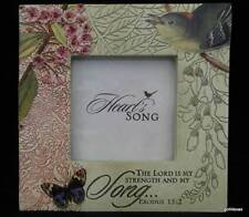 """Heart Song Photo Frame for 3 x 3"""" Photo Bird and Butterfly"""