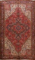 Vintage Geometric Heriz Traditional Area Rug Wool Handmade Oriental Carpet 8x11