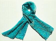 "Silk Velvet Scarf in Hand Dyed Aqua Burnout Scroll  Handmade 12x42"""