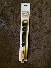 "New Woolrich Pet 12"" - 16"" Neck Size Navy Blue and Yellow Leather Dog Collar"