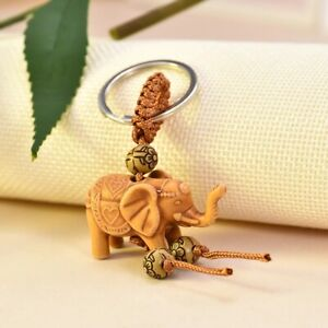 Lucky Cute Elephant Wooden Carving Pendant Key Ring Keychain Chain Evil Defends