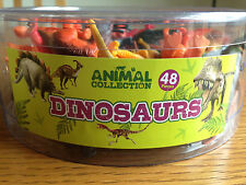 Tub of 48 Plastic Toy Dinosaurs/Animals Great for Party Bags - Brand New