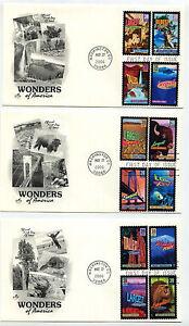 4033-72  Wonders of America, on ten different,  Artcraft FDCs