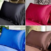 1 Pc New  Comfort Queen/Standard Silky Satin Pillowcases Solid Pillow Cases