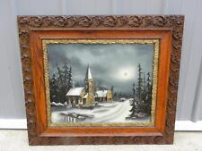 Large Antique Reverse Painted Framed Painting of a Winter Church Scene Gorgeous!