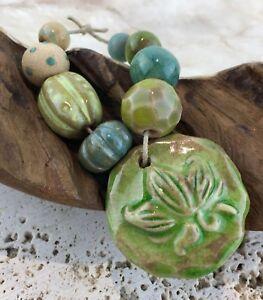 Gaea Ceramic EMERALD LOTUS Pendant / Bead Bundle