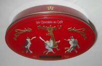 """MAXIM'S DE PARIS Les Chocolats au Cafe Empty Red TIN Dancers - 7x4.5x1.75"""" Oval"""