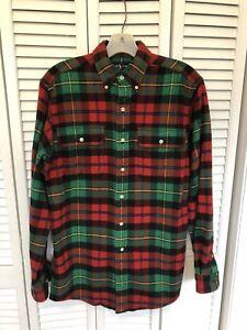RALPH LAUREN RL Workshirt Flannel Cotton/Wool Utility Plaid Check Shirt Jacket S