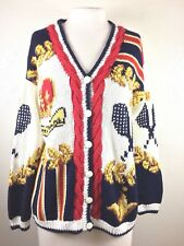 Eagles Eye Womens Small Cardigan Sweater Tennis Queens Game Trophy Hand Knit