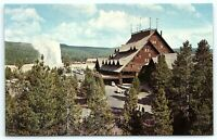 VTG Postcard Yellowstone Old Faithful Inn Motel Hotel VW BUG Geyser Park Tree B3