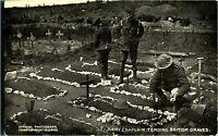 British Army Chaplain Tending British Graves antique postcard military