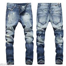 Mode Droit Hommes Moto Motard Jeans Coupe Skinny Slim Pantalon Délavé 30-42