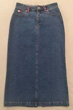 Tommy Hilfiger Size 4 Maxi Denim Pencil Skirt With Beading Boho Hippie