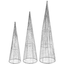 3er Set Dekobaum Weihnachten Deko Pyramide Metall-Kunststoff Silber Glitzer Vega