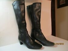 Women's Black Boots By Liz Claiborne Size 8.5-Zippered-Knee High
