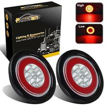 """2xGlo Lights Clear/Red 4"""" Round Stop Turn Tail Brake Halo Lamp 19LED Flush Mount"""