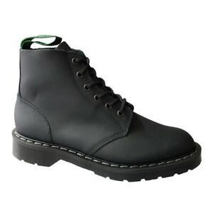Solovair Black Greasy Leather 6-Eye Boots 6-Loch Stiefel schwarz Leder
