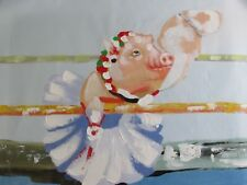colourful cute funky ballerina pig dance large oil painting canvas original art