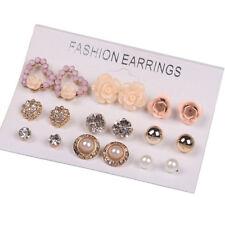 9pair  Women Gold Toned Creative Rose Pearl Crystal Heart Earring Ear Stud Set D