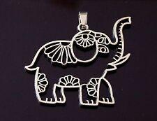 1 Filigree Tibetan Silver Animal Lucky Elephant Charm Pendant 41mm (TSC85)