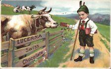 Advertising. Lucerna Swiss Chocolate, London. Boy & Cow.