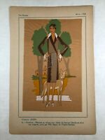 1928 French Gouache Hand Painted Fashion Print by Jenny Creations