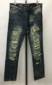 NWT Men's Raw & Dirty Bandana Shred Slim Fit Fender Wash Jeans (Choose Size)
