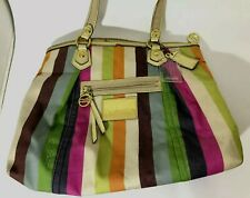 COACH POPPY Multi LEGACY STRIPE Sequins Glam Tote Shoulder Bag Purse