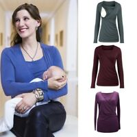 Women Pregnant Nursing Top Long Sleeve T Shirt Casual Solid Maternity Blouse Tee