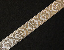 Jacquard Ribbon Trim. Metallic Silver on Silver